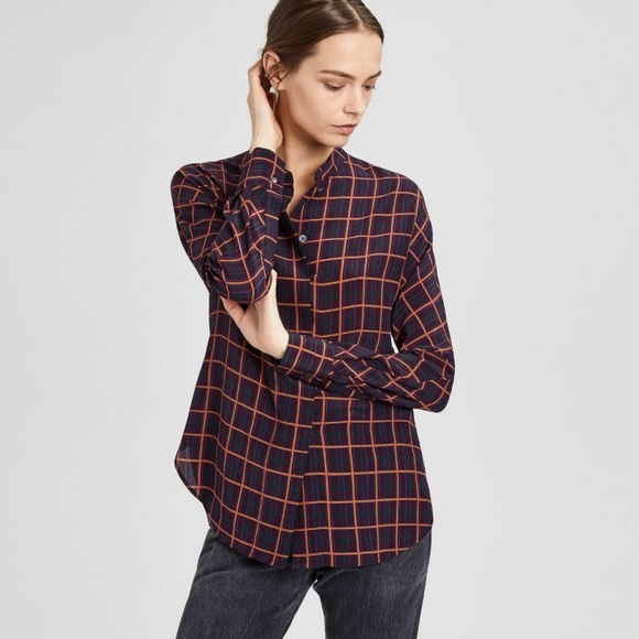 088e927a205d4 •Theory• Silk Plaid Dolman Blouse in Purple Multi.  M 5a6f77cf9a945516fcd083d3